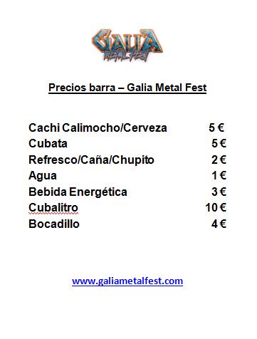 Precio Barra Galia Metal Fest